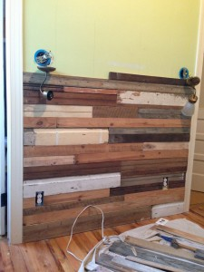 Wood wall in progress